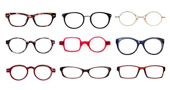 様々なタイプのメガネが並んだ写真