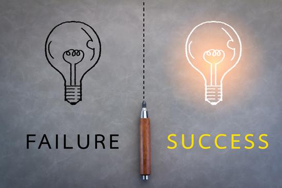 成功と失敗イメージをイラスト化した画像
