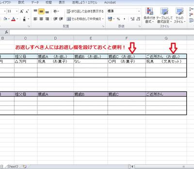 エクセルで贈答記録をつけた例2