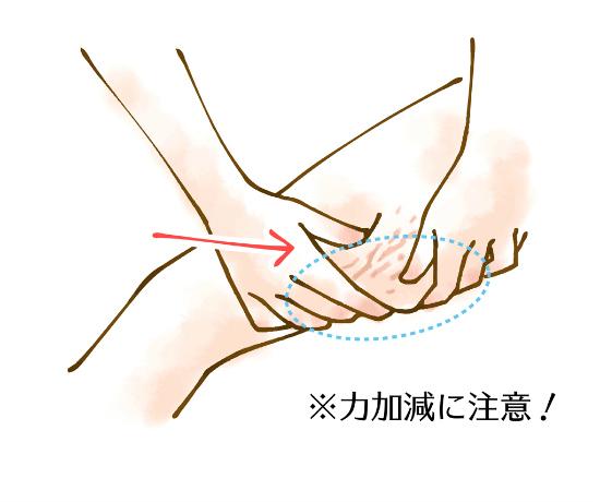 太股についたセルライトを潰す足の裏全体を指圧する1125-1