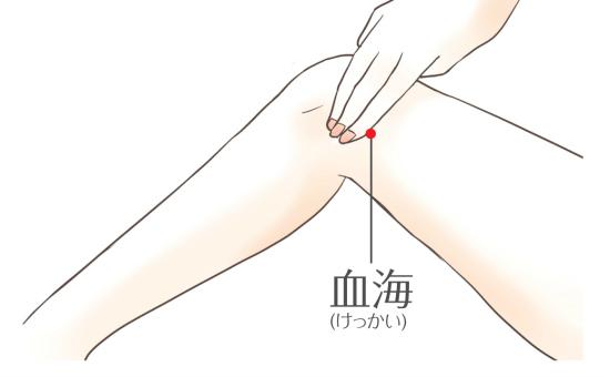 血流、血に関わる症状を良くするツボ:血海1102-3
