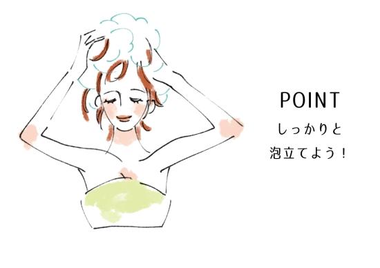 シャンプーを泡立ててから頭髪を洗う0808-5