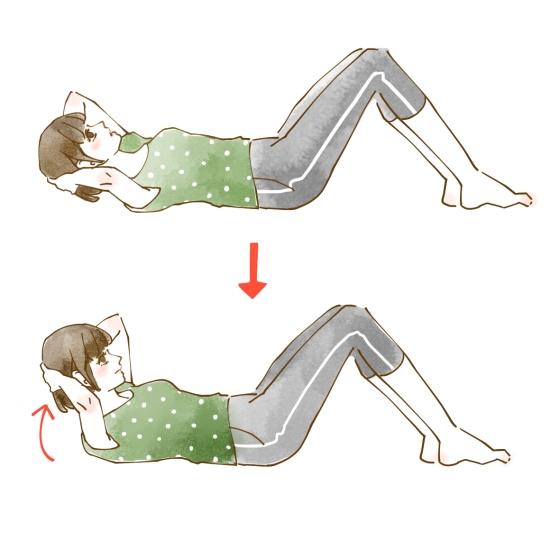 腹筋運動のやり方のイラスト