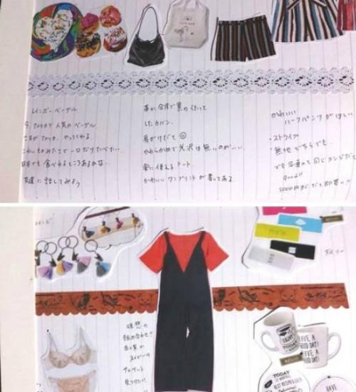 欲しい商品の画像やスナップを手帳内に貼り付ける