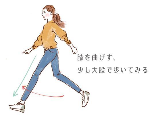 膝を曲げずに少し大股なくらいで颯爽と歩く