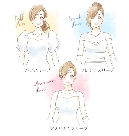 ウエディングドレスの袖の形0926-2