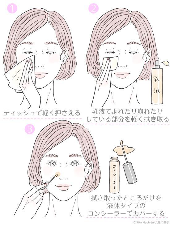 化粧直しをする時に粉を吹かないようにする方法