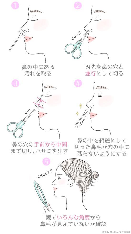 鼻毛用ハサミを使った鼻毛の切り方
