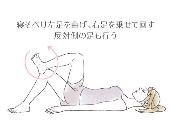 寝た状態での足首回しストレッチ