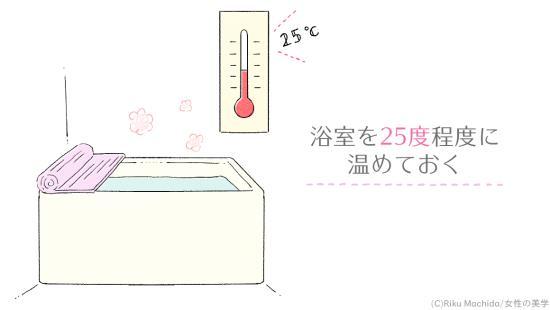 浴室を暖めておく