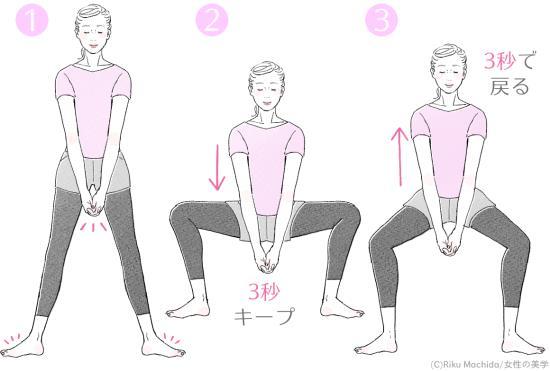 相撲スクワットのやり方1