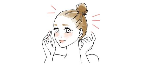 髪の毛にクリームが付かないようにアップにしておく07281