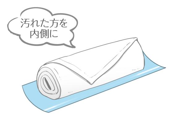 おしぼりを使った後は汚れた面を内向きにして畳む08022