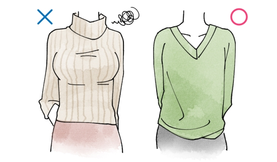 胸元がスッキリしたデザインの洋服10184