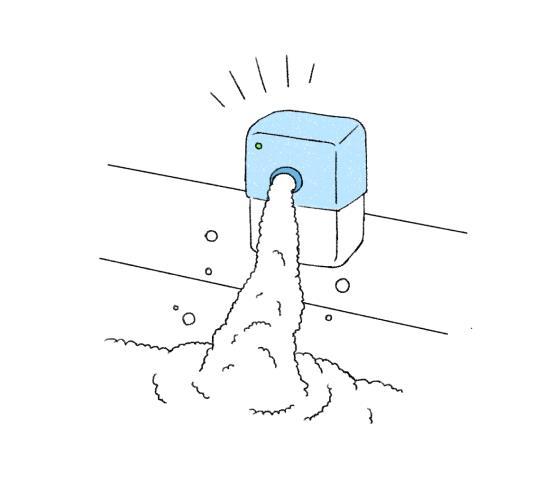 バブルソープバスを使って泡を生成
