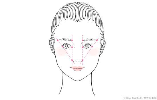 美人顔の眉の位置