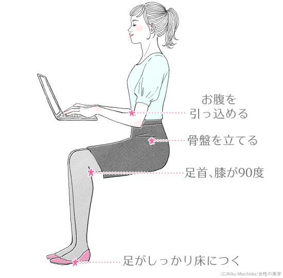 デスクワークをしている時も背筋を伸ばす