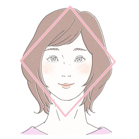 髪型のシルエットがひし形のイラスト