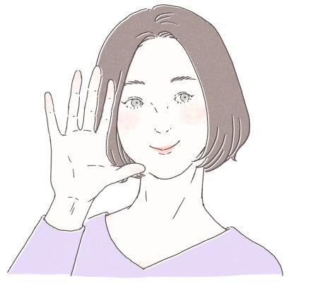 顔の少し前で手をパーをしている女性のイラスト