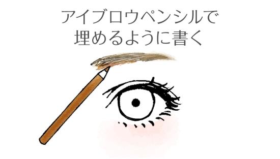アイブロウペンシルで毛を埋めるように薄く書く0209113