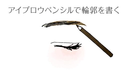 眉の下部分の輪郭をアイブロウペンシルで書く020916