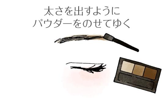 アイブロウパウダーを眉毛にのせていく02095