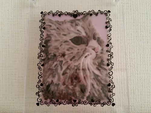 猫の写真をガラス絵の具で色付けした写真