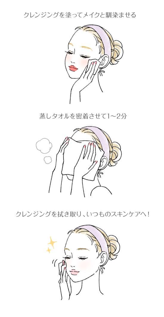 クレンジングに蒸しタオルを使う手順