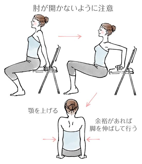 椅子を使い上腕三頭筋を鍛える96417