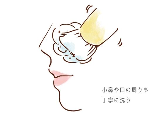 小鼻や口周りも丁寧に洗う35425