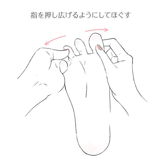 足の指を広げている様子