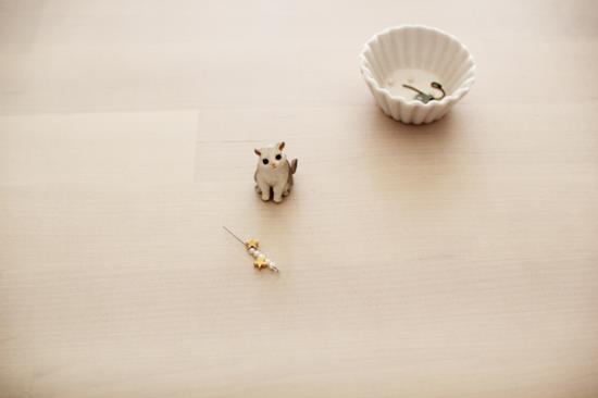 猫ピアスの作り方の写真
