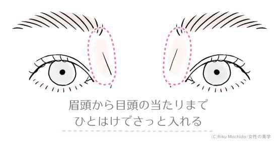 眉頭から目頭の当たりくらいまで