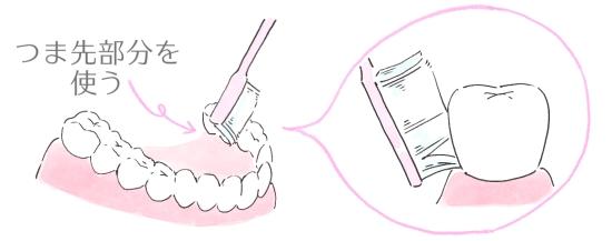 下の奥歯の裏側を磨く場合