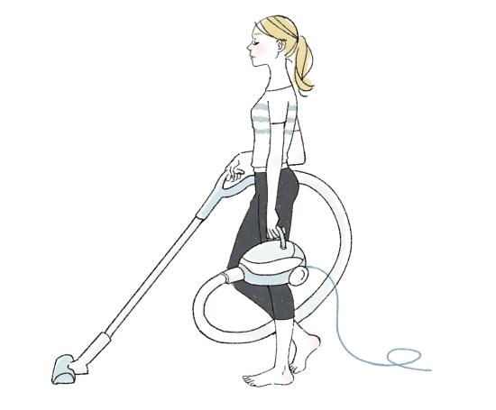 掃除機は手に持ってトレーニング