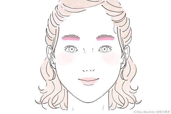 目と眉の間隔を狭くする