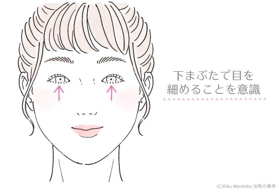 目を細めて下まぶたの筋肉を使う