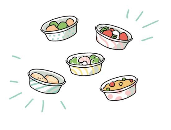 小皿に盛られた料理