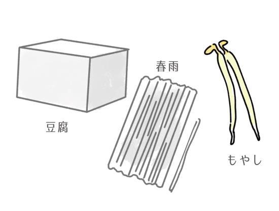 豆腐、春雨、もやしのイラスト
