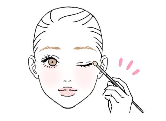 目の際にチップを使う方法