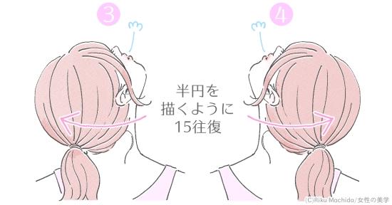 首を半円を描く
