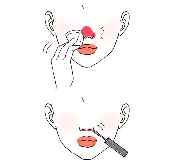 鼻の穴近くまでコンシーラーを塗る
