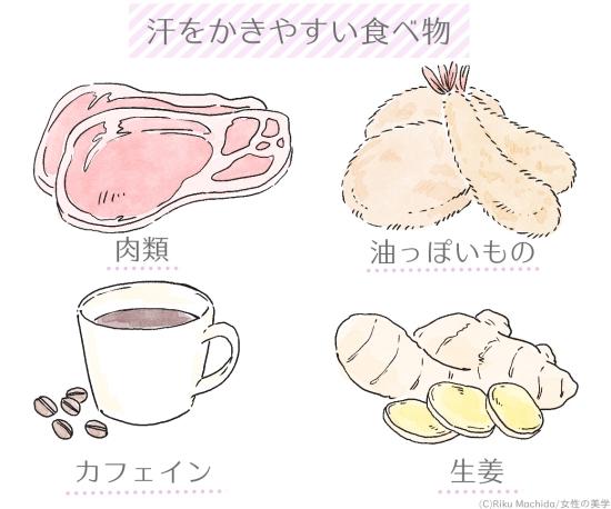 汗をかきやすい食べ物