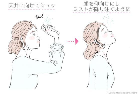 ミストタイプをメイクの上から保湿する女性