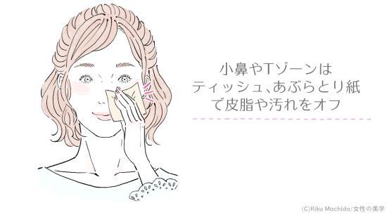 小鼻をティッシュオフする女性