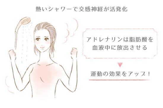 熱めのシャワーで交感神経が活発化