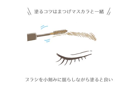 眉毛マスカラはまつげマスカラを塗るように塗る