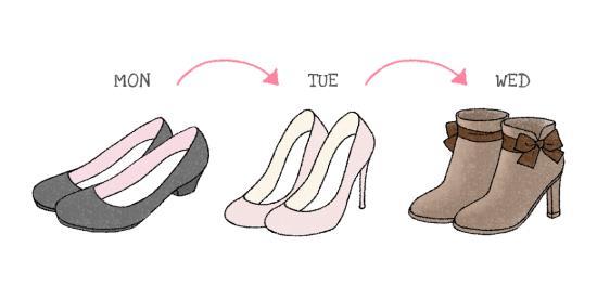 同じ靴を履き続けるのではなく、ローテンションすれば寿命も延びる