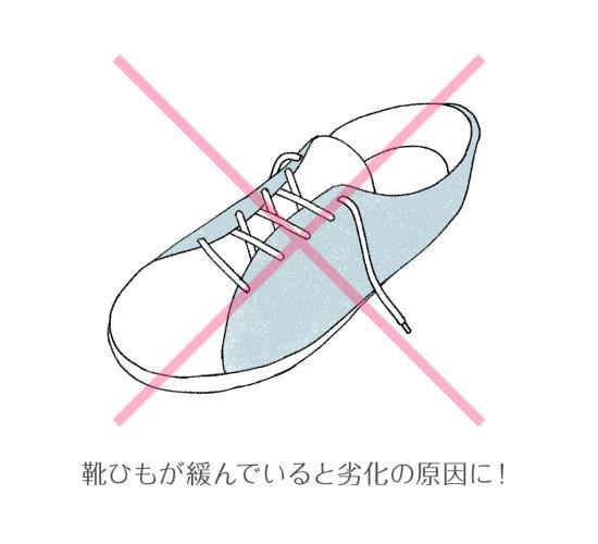 靴ひものゆるみは足を痛める原因